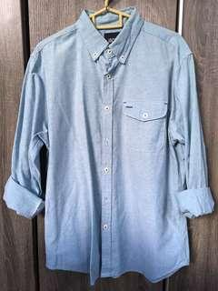 Denim light blue long sleeve casual shirt