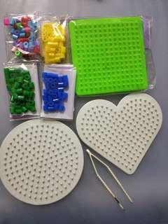 🚚 拼豆 膠珠 板子 愛心 圓形 方形 全部合售