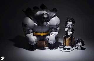 Fools paradise 愚者樂園 蝙蝠俠 Michael Lau kaws t9g dunny Coarsetoy 紋身的蝙蝠俠 刺青蝙蝠俠 限量版 初代版 彩色+黑白刺青蝙蝠俠 一起賣