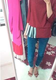Scarlet maroon top officewear
