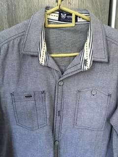 Grey denim look cotton shirt long sleeve