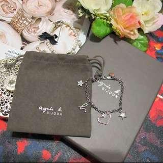 agnes b 手鍊 愛心 桃紅色 星星 logo 字母 小圓牌 銀色 agete jill stuart vendome aoyama jewelry star 吊牌