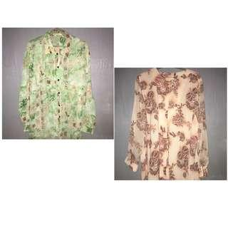 Take both!! Printed chiffon blouse