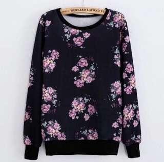 🆕 Pink Purple Floral Sweatshirt Sweater