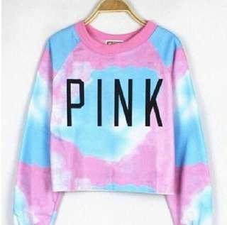🆕 PINK Ombre Croptop Shirt Sweater Sweatshirt