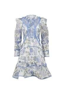 Thurley Bluebell Print Mini Dress Size 12
