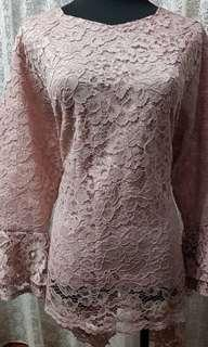 Nude Pink Top with Lace  (Layered Sleeves fit XXXL)