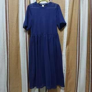 H&M mesh navy blue midi dress