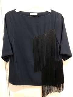 Boat neck top with tassel
