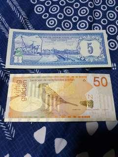 1984, 2006 Dutch Admin Netherlands Antilles 5 Gulden & 50 Gulden Banknotes