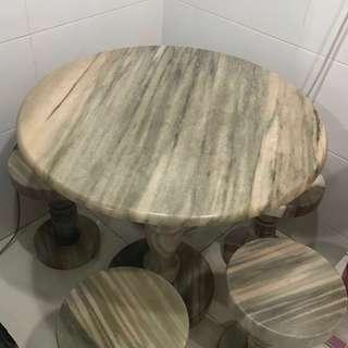Marble dinning round table and chairs