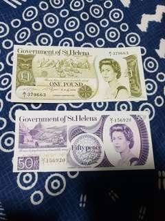 1979,1981 ND QEII GOVERNMENT OF SAINT HELENA 50 PENCE & 1 POUND BANKNOTE