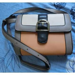 復古金扣 民族風 黃杏拼色 斜咩袋 Vintage Bag