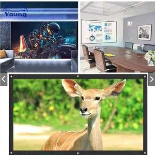 Projector Screen Projection Curtain Soft Polyester 60 Inch Video Foldable