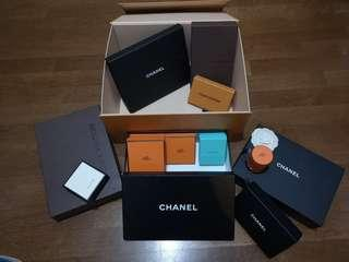 Louis Vuitton, Chanel, Hermes boxes