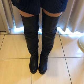 🚚 後綁帶高質感皮質顯瘦膝上靴