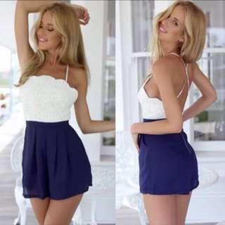 🔺BN🔺Laced Cross-Back Romper/Playsuit