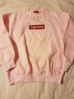Fake fleece pink supreme crew jumper