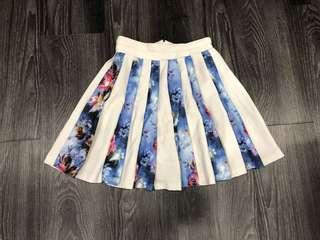 Pleated Floral White Skirt
