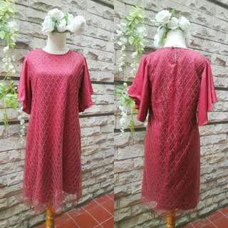Maroon brukat dress