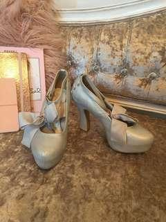 Liz Lisa baby blue pearlescent platform heels with ribbon