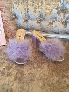 Katy Perry lilac purple fluffy mules pin up high heel