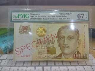 Singapore $10000 Portrait Specimen 8PN 002205 PMG 67 Superb Gem UNC