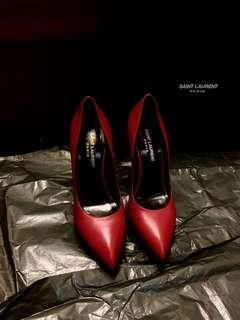 Yves Saint Laurent Burgundy Red high heels pumps shoes YSL 高跟鞋 紅色