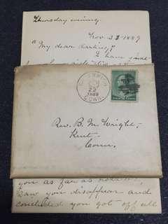 US 1889 Envelope + Letter w 2c Green Banknote Washington, Greenwich to Kent Connecticut, Fancy Cancel