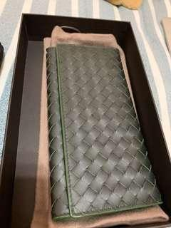 全新BOTTEGA VENETA BV 綠 小牛皮 編織 經典對開皮