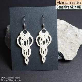 Non tarnish homemade macramé earrings (Classic #2) /// [[ white dangling macrame crochet handmade earrings stainless steel hooks lane22]]