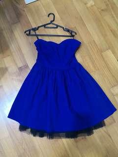 Tube tulle dress in navy blue