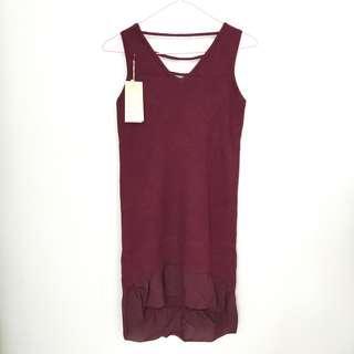 BNWT Maroon Red Ribbed Sleeveless Dress