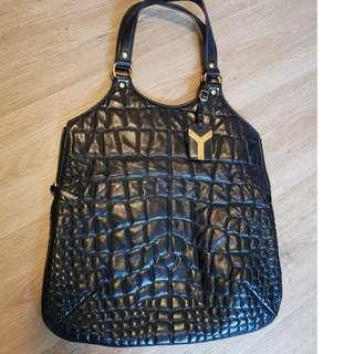 YSL Yves Saint Lauren Rive Gauche Croc Patent 'Tribute'