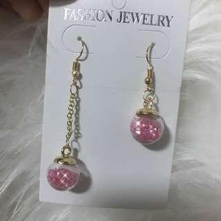 全新現貨💫粉色系少女玻璃珠耳環