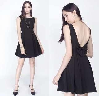 BNWT Fayth Charlotte Bow Low Bare Back Dress in Black