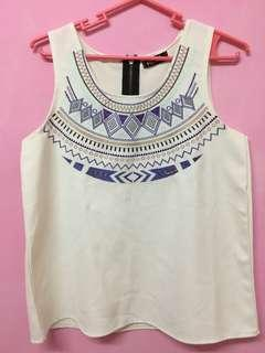 Aztec white sleeveless top