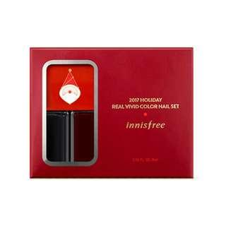(NEW) Innisfree Christmas Limited Edition Holiday Real Vivid Color Nail Set (Santa-RED) - Nail Color 4mlX2, Sticker & Gilter Powder 0.7g #under90