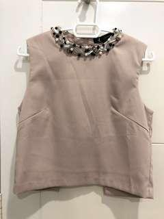 Jeweled-neck classy cropped top