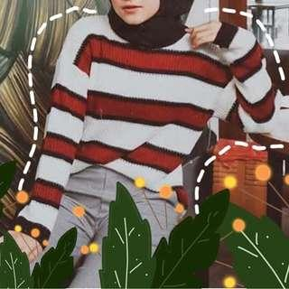 New red line knit sweater