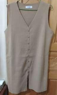 🚚 米色 文青 針織 長版 背心 洋裝
