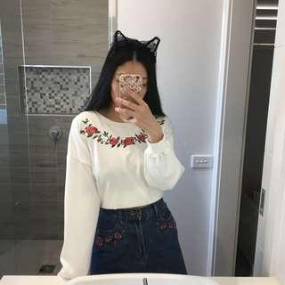 Korean/Japanese Rose Embroidered Sweater