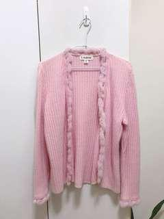 🚚 粉嫩毛毛球針織外套