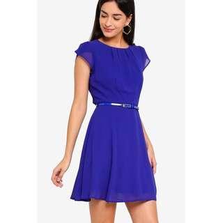Petite Billie Cobalt Chiffon Dress