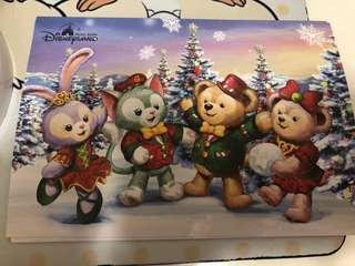 2017年 迪士尼 聖誕節 明信片 duffy stellalou shelliemay gelatoni