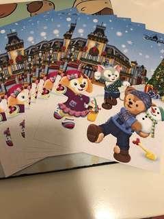 2018年 迪士尼 聖誕節 明信片 duffy cookie gelatoni