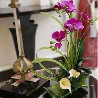 Artificial Flowers with Porcelain Plate