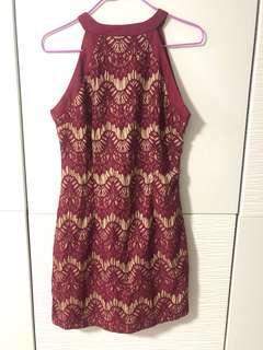 Maroon lace sheath dress