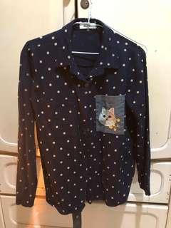 🚚 貓咪點點襯衫 深藍色