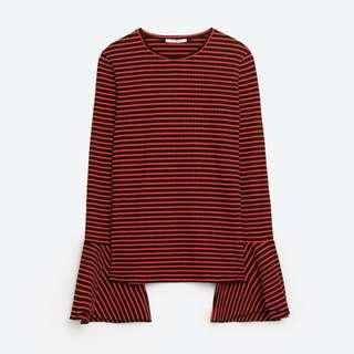 Zara Trafaluc Size S Striped Blouse- Red & Black #NEW99